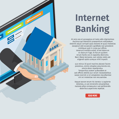 Internet banking page with full information vector illustration. Online business consultation service. Arms stretch small bank building right out computer monitor on blue background with description.