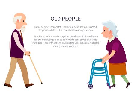 Bandiera di persone anziane con il nonno che tiene il bastone da passeggio e la nonna con le illustrazioni di vettore di camminatori aiutanti isolate su bianco. Pensionati in stile cartone animato