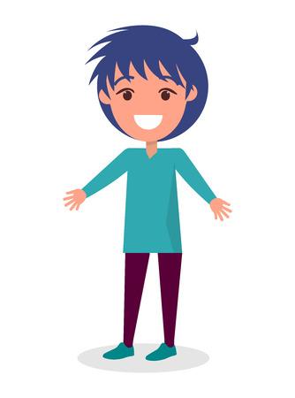 Garçon brune souriante en pull bleu et pantalon marron, illustration de vecteur enfant dessin animé maternelle isolé sur fond blanc Vecteurs