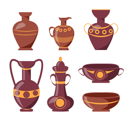 Ancient clay vases with ethnic ornaments isolated vector illustrations on white background. Polished antique vessels with patterns. Illustration