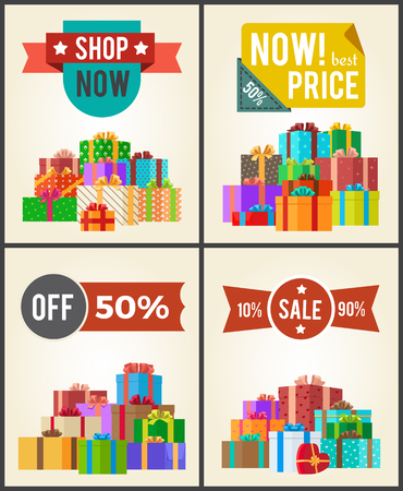 Shop now best hot price promo labels with ribbons and stars on vector banner set with piles of gift boxes in festive wrapping paper isolated on white.