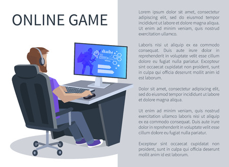 Online gaming poster with man playing cyber video games, player in virtual reality cyberspace sitting on chair at computer vector illustration.