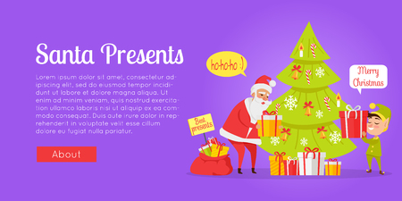 Xmas and fast delivery of best presents isolated. Vector illustration of Santa Claus and gnome packing presents in boxes with red ribbon near decorated Christmas tree in cartoon style. Standard-Bild - 100049637