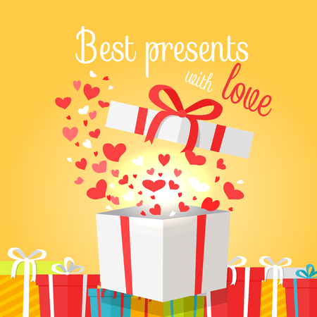 Best Presents with Love on Yellow Background.
