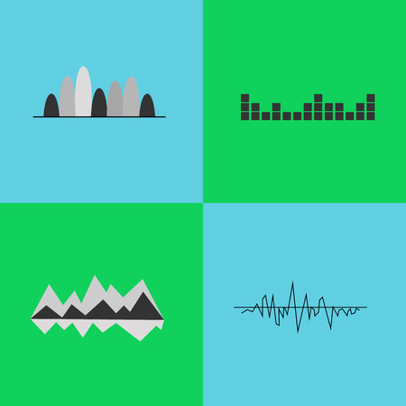 Set of four black and white charts of simple geometric forms, lines and rounded shapes, represented on vector illustration isolated on blue and green
