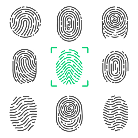 Collection of Fingerprints on Vector Illustration Illustration