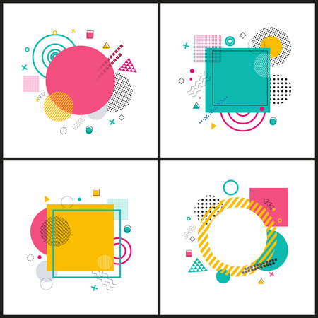 Abstract Placard Collection on Vector Illustration Çizim