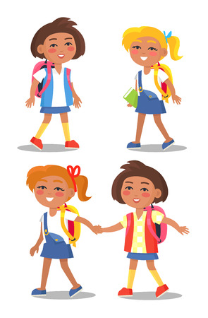 Set of Schoolgirls with Backpacks  イラスト・ベクター素材