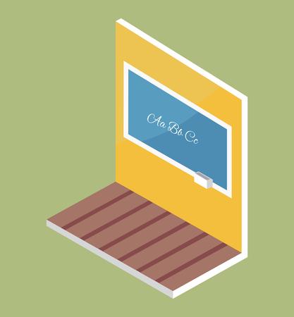 School Blackboard with ABC Text on Wooden Floor Illustration