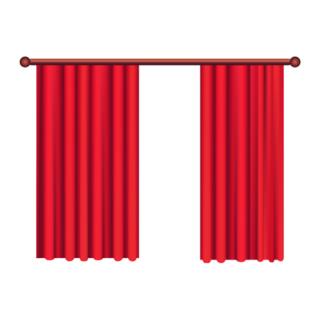 Classic Heavy Red Drapes on Cornice Vector