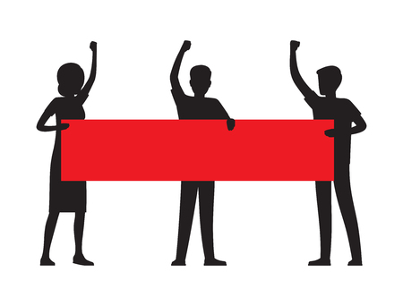 Two Man and a Woman Holding a Red Streamer Illustration