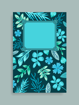 Colorful postcard with herbs drawn in shades of blue and turquoise. Vector illustration with beautiful branches with wide leaves and herbal plants Standard-Bild - 100054298