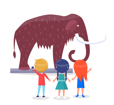 Excited boys and girls admiring model of giant mammoth with long curved tusks in museum cartoon style isolated vector illustration on white background Illustration