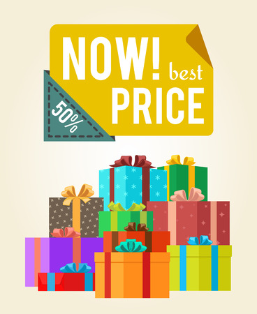 Now best price push buttons promo label on banner with gift boxes vector poster with piles of presents in color wrapping paper with festive bows Illusztráció
