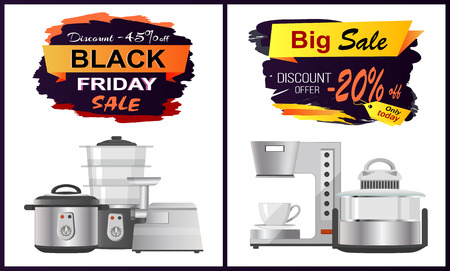 Back sale discount offer on white background. Vector illustration with discount advert and kitchen staff like pans and coffee machine