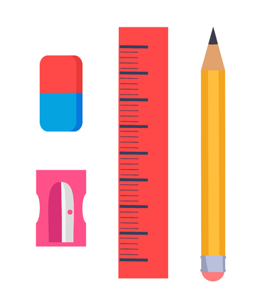 Stationery items isolated vector illustration on white. Cartoon style graphite pencil, plastic sharpener, rectangular eraser and red ruler