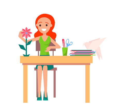 Joyful redhead girl making origami isolated vector illustration on white. Cartoon style paper flower and bird on desk along with some stationery items