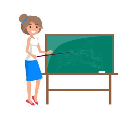 Teacher at Blackboard Isolated Illustration