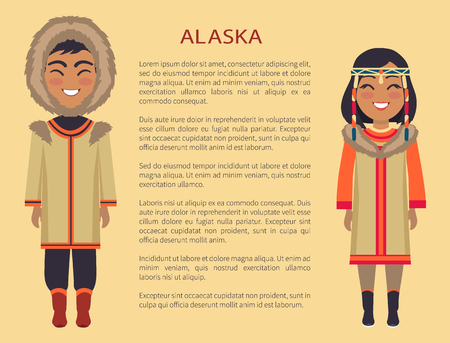 Alaska People in Clothes on Vector Illustration Ilustracja