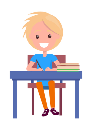 Blonde boy with textbooks at school table isolated on white. Vector illustration of begginer on 1st of September, back to school concept Ilustrace