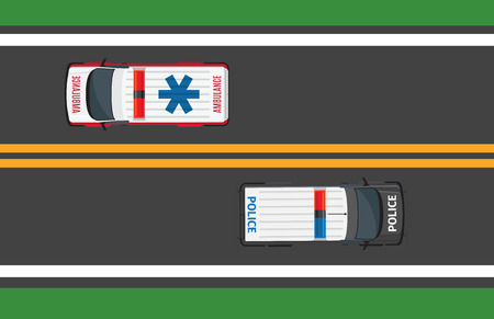 Top view of driving ambulance and police autos in opposite directions. Asphalt black road with double yellow stripe and two special vehicles. Vector illustration of traffic on roadway in flat style