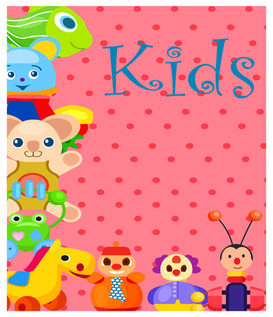 Kids Plush and Plastic Toys on Spotty Background