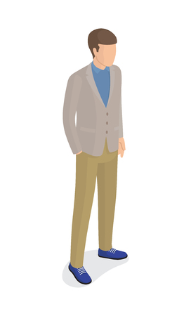Man in Gray Jacket, Green Trousers, Blue Shoes Banque d'images - 100218542