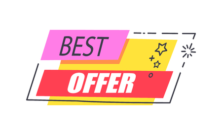 Best Offer Promo Sticker with Stars Advert Logo