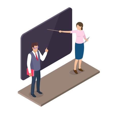 Teachers Standing Near Blackboard on Lesson 3D 向量圖像