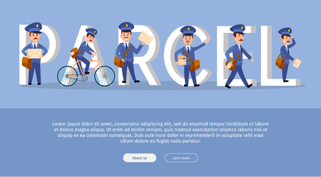 Parcel Conceptual Web Banner with Cartoon Postman Ilustração