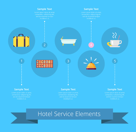 Hotel Service Elements Icons Vector Illustration 일러스트