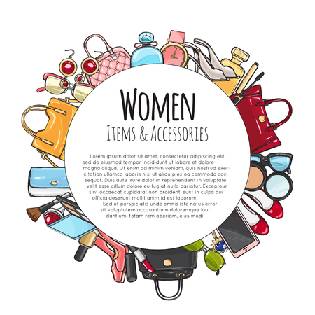 Women Items and Accessories Round Frame. Cosmetics. Ilustração