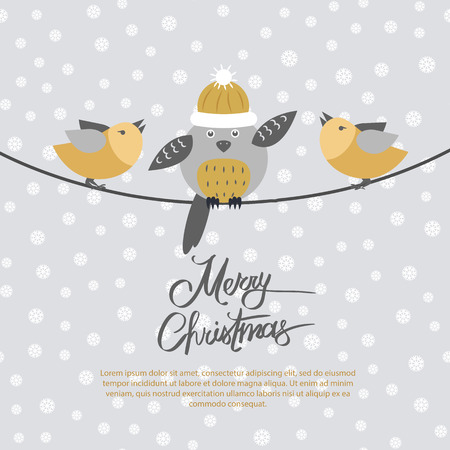 Merry Christmas Card with Birds on Black Rope