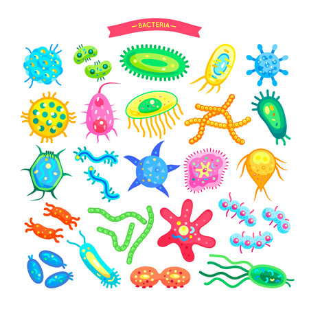 Bacteria Collection of Icons Vector Illustration Illustration