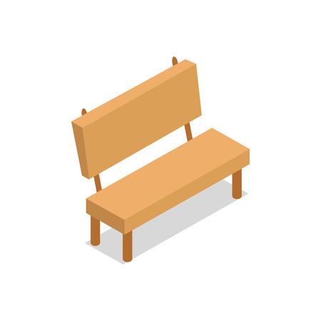 Wooden Bench Isometric Design Vector Illustration