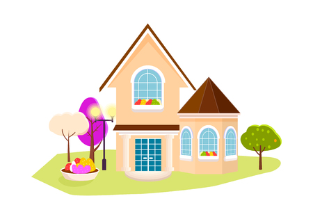 Beautiful house with garden on white background.