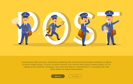 Post conceptual web banner with cartoon postman characters. Funny postal couriers delivering letters and parcels flat vector illustration. Horizontal concept with mailman for mail service landing page