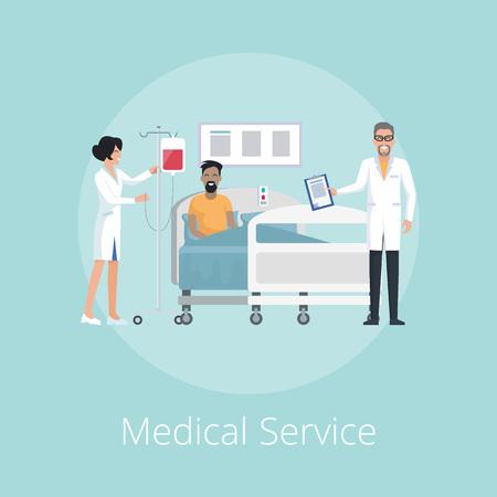 Medical Service Nurse and Doc Vector Illustration Illustration