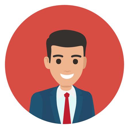 Cartoon Businessman in Suit Portrait in Circle