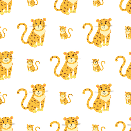 Seamless pattern of cute funny jaguar or leopard vector flat cartoon sticker or icon outlined with dotted line isolated on white. Wild animal illustration for game counters, price tags Illustration