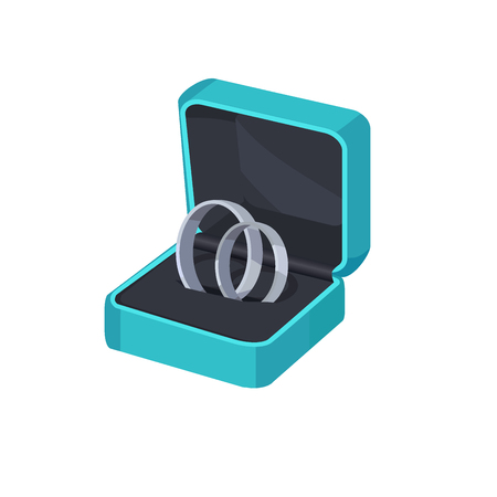 Two Platinum Engagement Rings in Box.