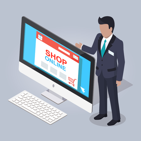 Online Shopping Website Illustrated on Monitor. Vector illustration.