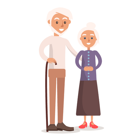 Old couple vector illustration