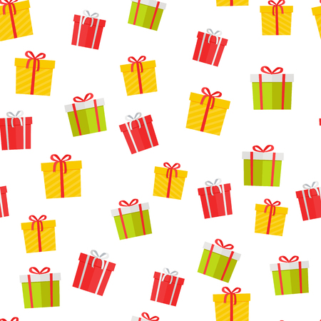Colorful giftboxes cartoon seamless pattern. Wrapped boxes with stripes and bows flat vector isolated on white background.