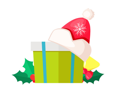 Green gift box isolated with Santa Claus hat vector illustration