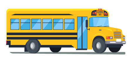 Icon of School Bus Isolated Illustration on White