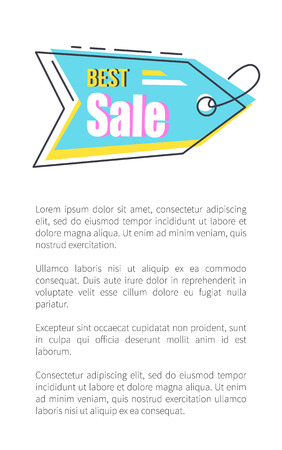 Best Sale Tag with Thread on Promotional Poster vector illustration Stockfoto - 100425190