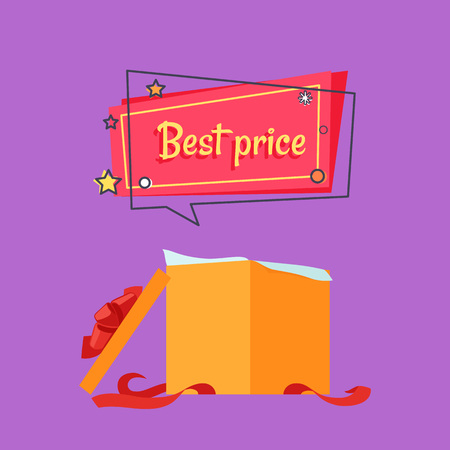 Best Price Open Gift Box in Beige Wrapping Paper Illustration