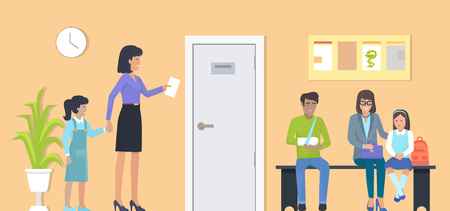 Patients at Waiting Room on Vector Illustration