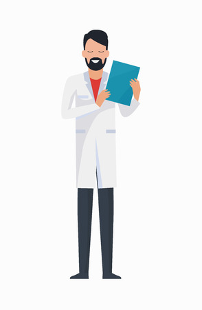 Doctor with Folder Icon Vector Illustration Illustration